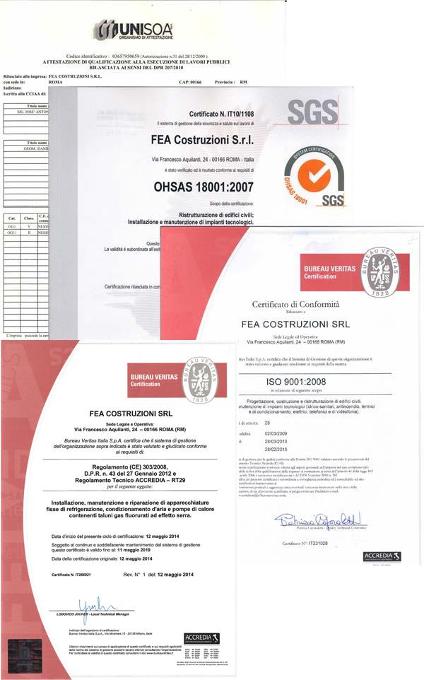 Certificazioni FEA Costruzioni S.r.l.